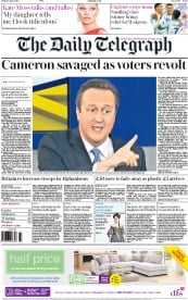 The Daily Telegraph () Newspaper Front Page for 3 June 2016