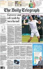The Daily Telegraph (UK) Newspaper Front Page for 3 July 2015