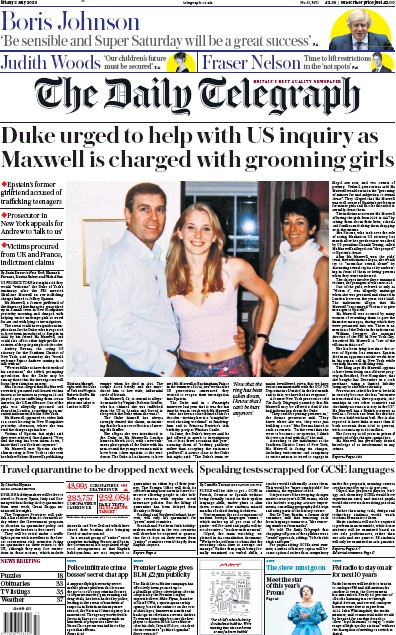 The Daily Telegraph Newspaper Front Page (UK) for 3 July 2020