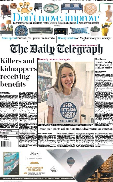 The Daily Telegraph Newspaper Front Page (UK) for 3 August 2019