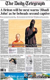 The Daily Telegraph (UK) Newspaper Front Page for 3 September 2014