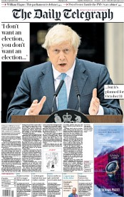 The Daily Telegraph (UK) Newspaper Front Page for 3 September 2019