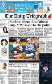The Daily Telegraph (UK) Newspaper Front Page for 4 November 2017