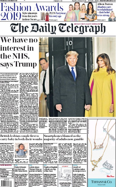 The Daily Telegraph Newspaper Front Page (UK) for 4 December 2019