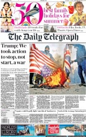 The Daily Telegraph (UK) Newspaper Front Page for 4 January 2020
