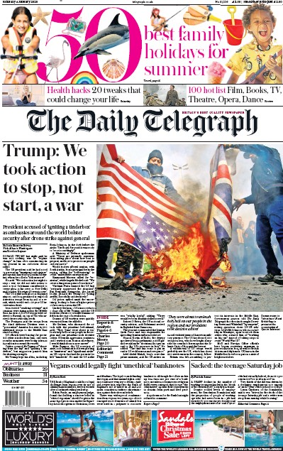 The Daily Telegraph Newspaper Front Page (UK) for 4 January 2020