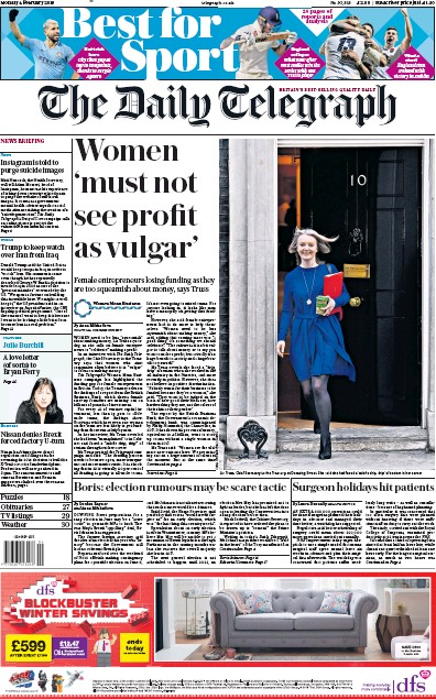 The Daily Telegraph Newspaper Front Page (UK) for 4 February 2019