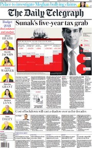 The Daily Telegraph front page for 4 March 2021