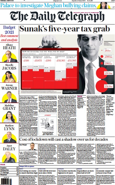 The Daily Telegraph Newspaper Front Page (UK) for 4 March 2021