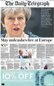 The Daily Telegraph (UK) Newspaper Front Page for 4 May 2017