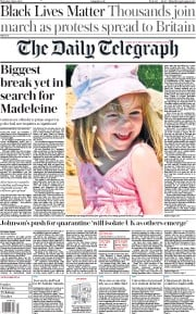 The Daily Telegraph front page for 4 June 2020