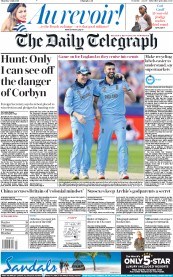 The Daily Telegraph (UK) Newspaper Front Page for 4 July 2019