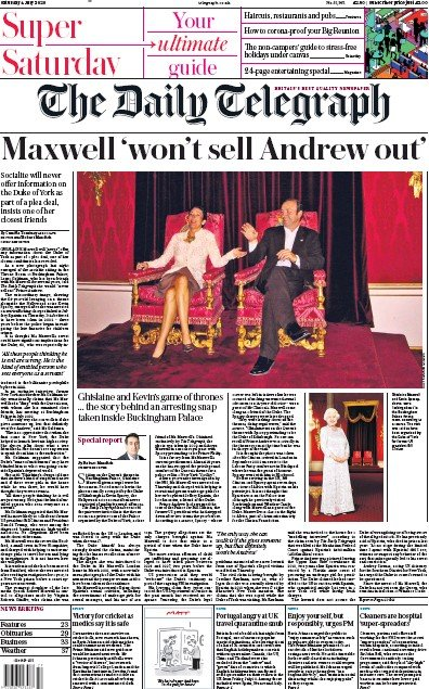 The Daily Telegraph Newspaper Front Page (UK) for 4 July 2020