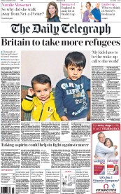 The Daily Telegraph (UK) Newspaper Front Page for 4 September 2015