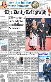 The Daily Telegraph (UK) Newspaper Front Page for 4 September 2017