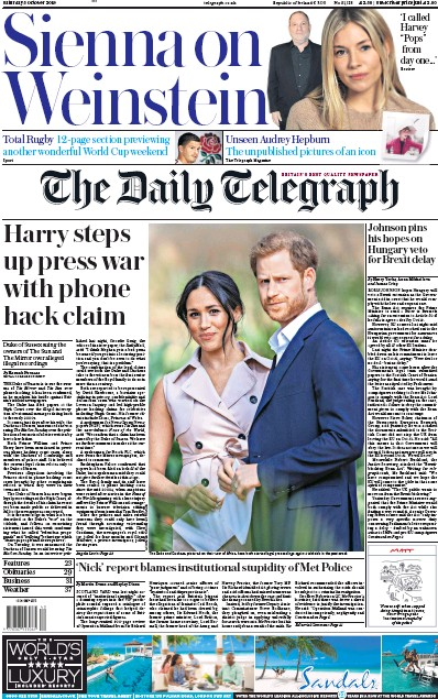 The Daily Telegraph Newspaper Front Page (UK) for 5 October 2019