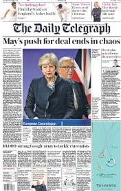 The Daily Telegraph (UK) Newspaper Front Page for 5 December 2017