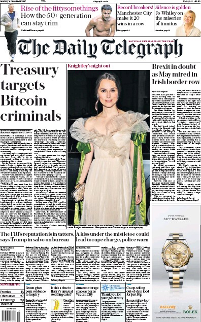 The Daily Telegraph Newspaper Front Page (UK) for 5 December 2017