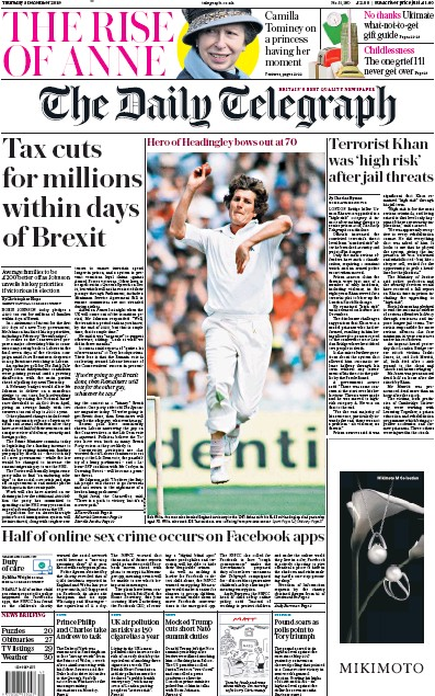 The Daily Telegraph Newspaper Front Page (UK) for 5 December 2019