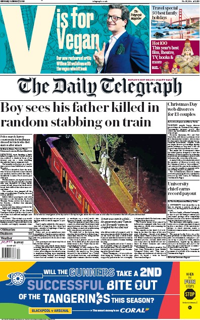 The Daily Telegraph Newspaper Front Page (UK) for 5 January 2019