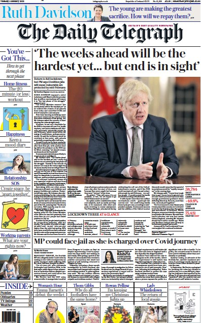 The Daily Telegraph Newspaper Front Page (UK) for 5 January 2021