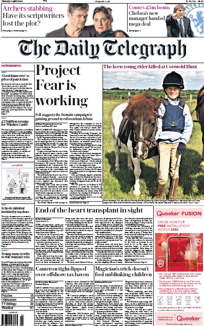 The Daily Telegraph (UK) Front Page for 5 April 2016 ... Daily Telegraph