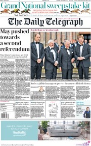 The Daily Telegraph (UK) Newspaper Front Page for 5 April 2019