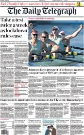 The Daily Telegraph front page for 5 April 2021