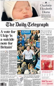 The Daily Telegraph (UK) Newspaper Front Page for 5 May 2015