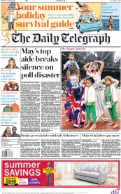 The Daily Telegraph (UK) Newspaper Front Page for 5 August 2017