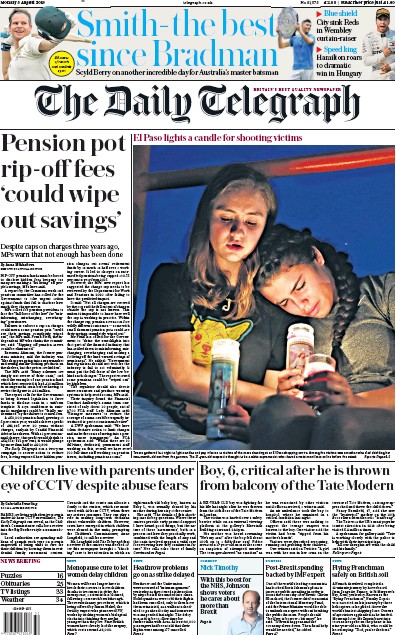 The Daily Telegraph Newspaper Front Page (UK) for 5 August 2019