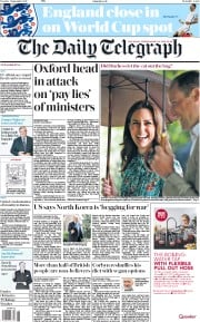 The Daily Telegraph (UK) Newspaper Front Page for 5 September 2017