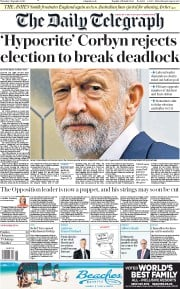The Daily Telegraph (UK) Newspaper Front Page for 5 September 2019