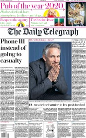 The Daily Telegraph front page for 5 September 2020