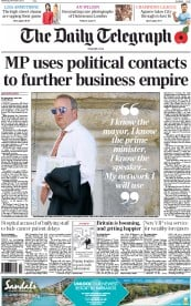 The Daily Telegraph Newspaper Front Page (UK) for 6 November 2013