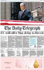 The Daily Telegraph (UK) Newspaper Front Page for 6 December 2018
