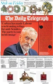 The Daily Telegraph (UK) Newspaper Front Page for 6 December 2019
