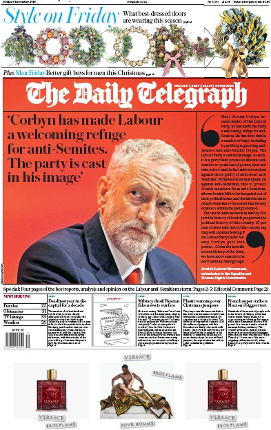 The Daily Telegraph Newspaper Front Page (UK) for 6 December 2019