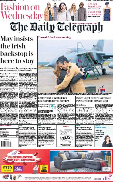 The Daily Telegraph Newspaper Front Page (UK) for 6 February 2019