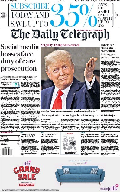The Daily Telegraph Newspaper Front Page (UK) for 6 February 2020