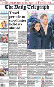 The Daily Telegraph front page for 6 March 2021