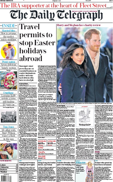 The Daily Telegraph Newspaper Front Page (UK) for 6 March 2021