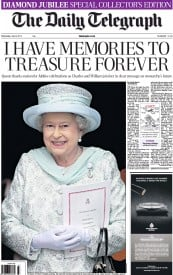 The Daily Telegraph Newspaper Front Page (UK) for 6 June 2012