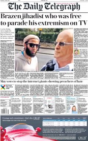 The Daily Telegraph (UK) Newspaper Front Page for 6 June 2017