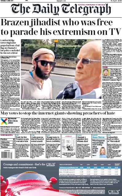 The Daily Telegraph Newspaper Front Page (UK) for 6 June 2017