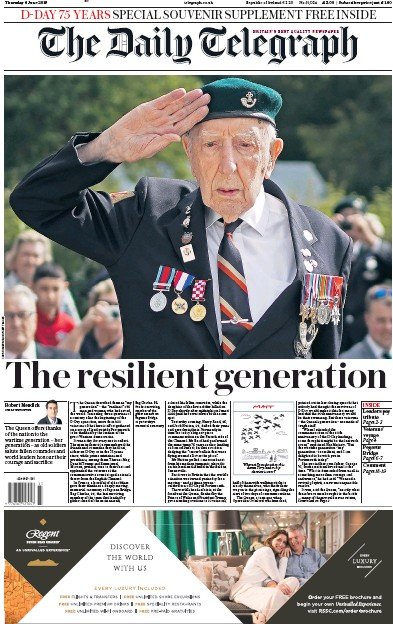The Daily Telegraph Newspaper Front Page (UK) for 6 June 2019