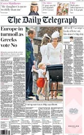 The Daily Telegraph (UK) Newspaper Front Page for 6 July 2015