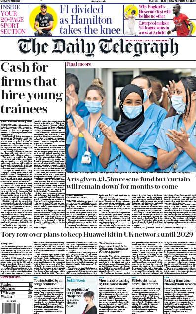 The Daily Telegraph Newspaper Front Page (UK) for 6 July 2020