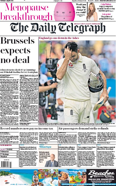 The Daily Telegraph Newspaper Front Page (UK) for 6 August 2019