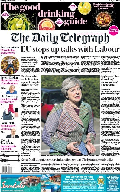 The Daily Telegraph Newspaper Front Page (UK) for 7 October 2017
